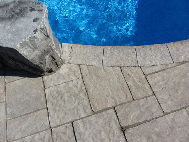 Coping around a pool.