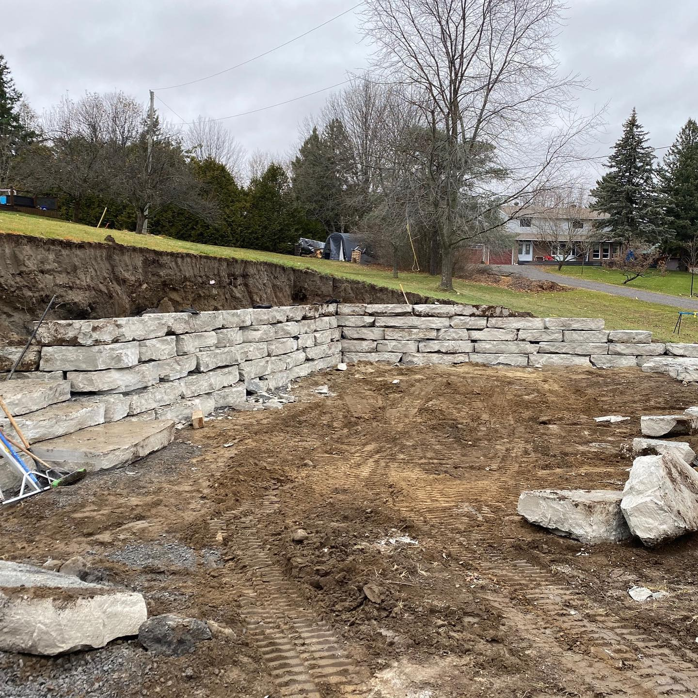 A retaining wall being built.